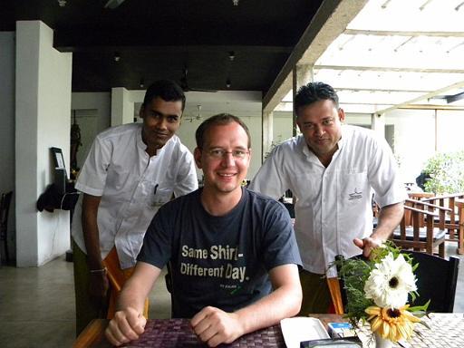 Tony with the waiters at Hotel Thilanka, Kandy
